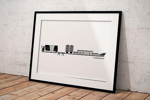 Byplakat af Islands Brygge 50 x 70 cm hvid i sort ramme
