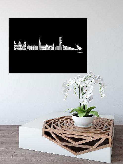 Aarhus plakat i sort 50 x 70 cm