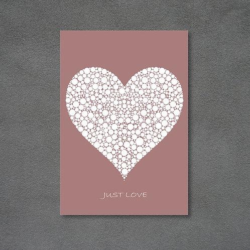 Postkort med hjerte og teksten Just love