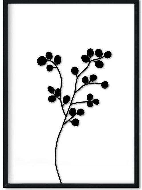 Plakat af sort eukalyptus gren indrammet i sort ramme