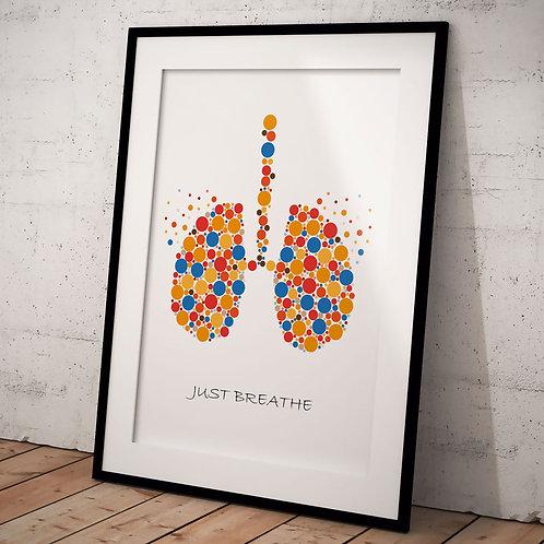 Organ Plakat Just Breathe A3, Multi