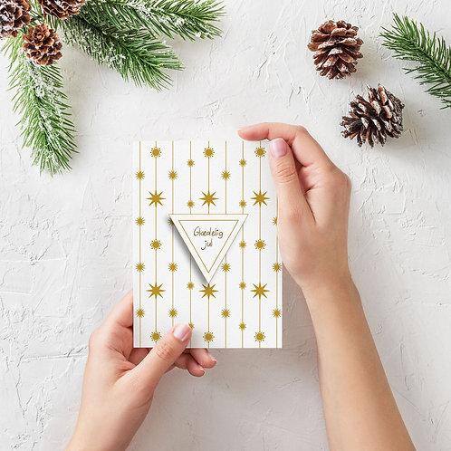 Julekort 2020 med corona molekyler og julestjerner i gylden