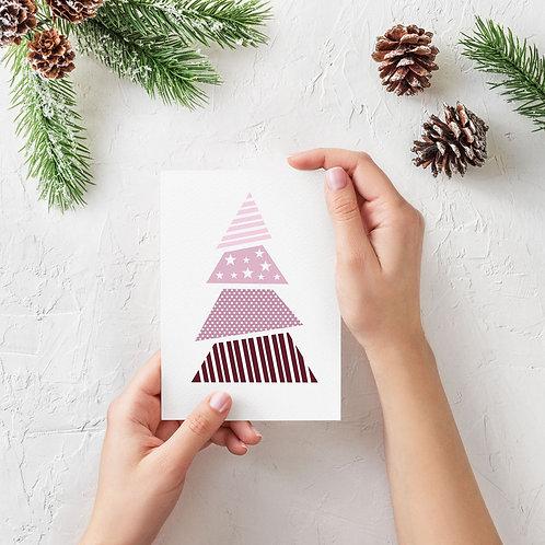Julekort med lyserødt juletræ