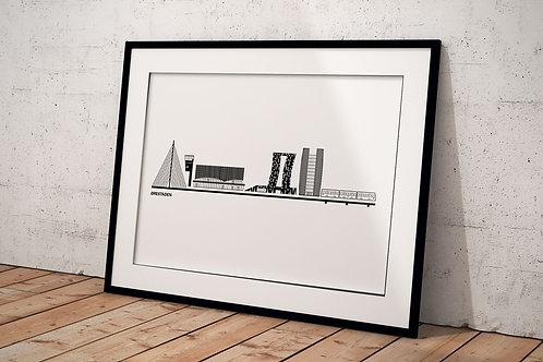 Billede af byplakat af Ørestaden 50 x 70 cm med hvid baggrund i sort ramme