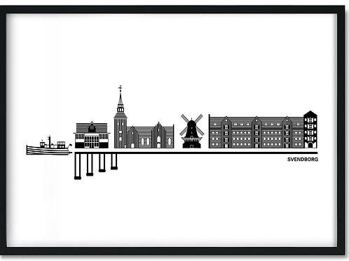 Byplakat af Svendborg med hvid baggrund i sort ramme