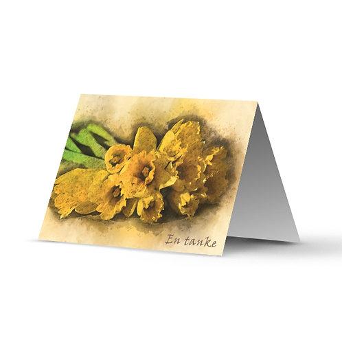 Billede af lykønskningskort med påskeliljer