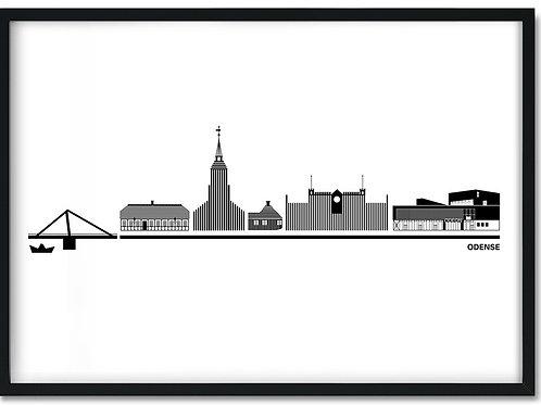 Odense plakat hvid i sort ramme