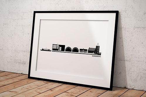 Byplakat Skanderborg 50 x 70 cm med hvid baggrund og sort ramme