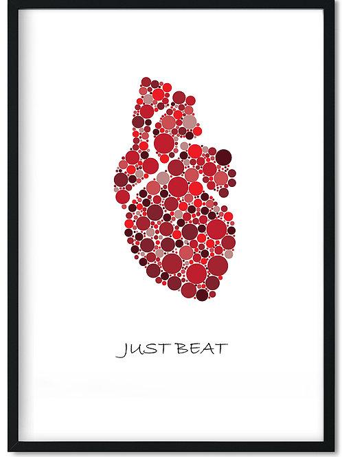 Organ plakat med hjerte og teksten Just beat