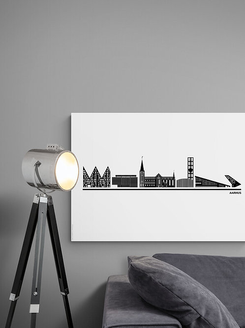 Byplakat Aarhus i hvid, 50 x 70 cm