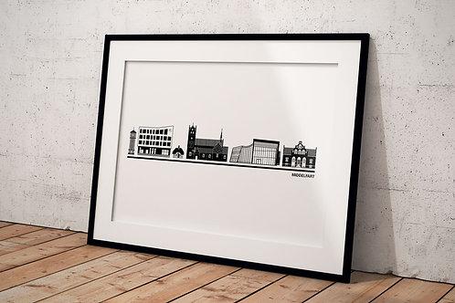 Billede med byplakat Middelfart 50 x 70 cm, hvid baggrund, sort ramme