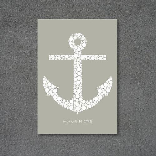Postkort med anker og teksten Have hope