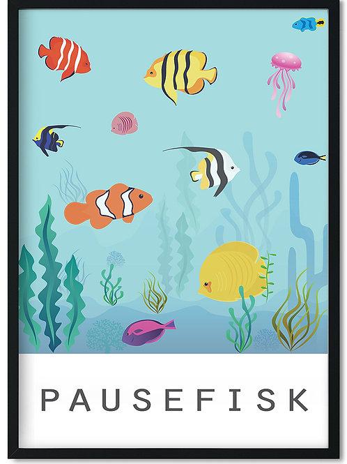 Plakat med pausefisk i sort ramme