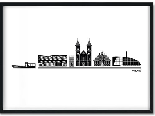 Hvid byplakat med Viborg i sort ramme