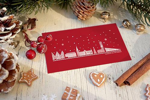 Julekort med Aarhus i rødt - pakke med 1 stk