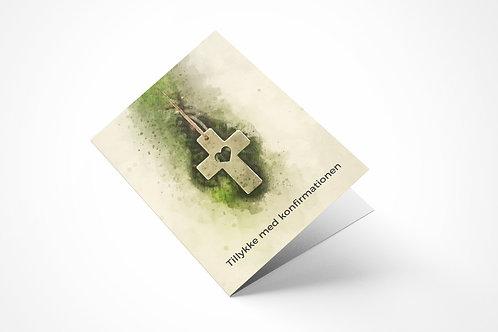 Lykønskningskort med kors til konfirmation
