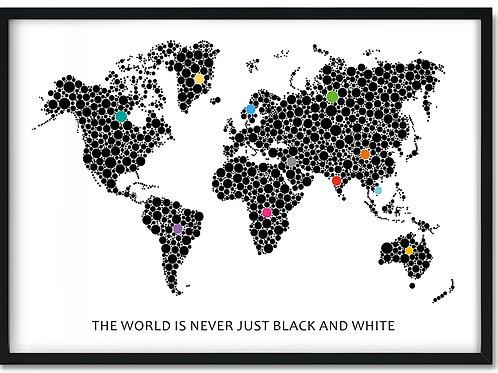 Plakat med verden og prikker i farver i sort ramme