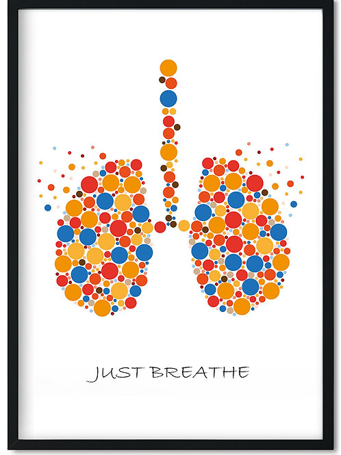 Organ plakat med lunger i multifarver og teksten Just Breathe