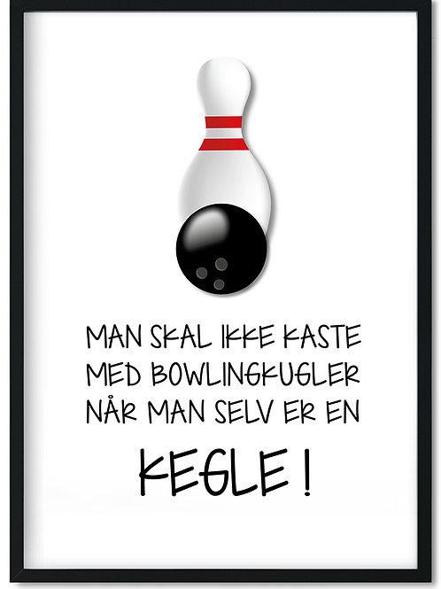 Plakat med citat om bowling og kegle i sort træramme