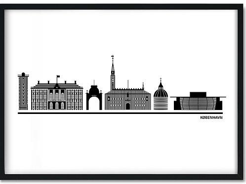 Byplakat København hvid i sort ramme