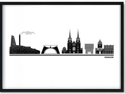 Byplakat Roskilde hvid med sort ramme