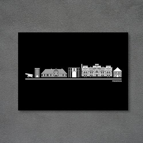 Postkort med byplakat Fredericia sort baggrund