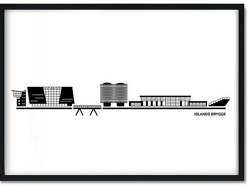 Plakat af Islands Brygge hvid i sort ramme