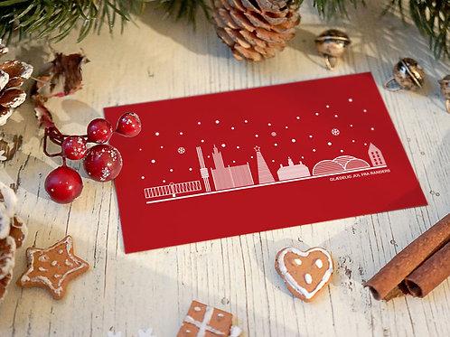 Julekort Randers i rød