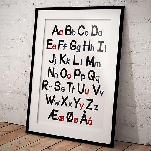 Plakat A3 med børne ABC med store og små bogstaver
