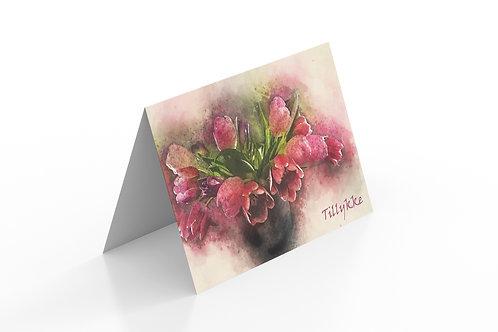 Lykønskningskort  i bredformat med lyserøde tulipaner