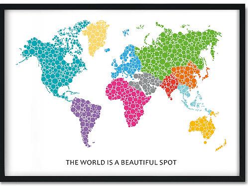 Plakat med verden i farver og citat