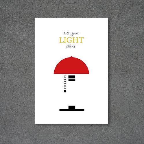 Postkort med lampe og citat