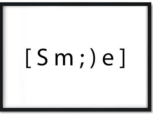 Citat plakat i ramme med ordet Smile