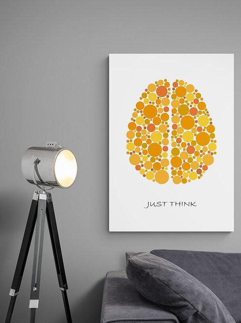 Just Think plakat med gul hjerne