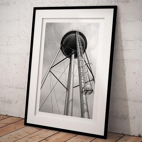 Plakat A3 i sort hvid med vandtårn