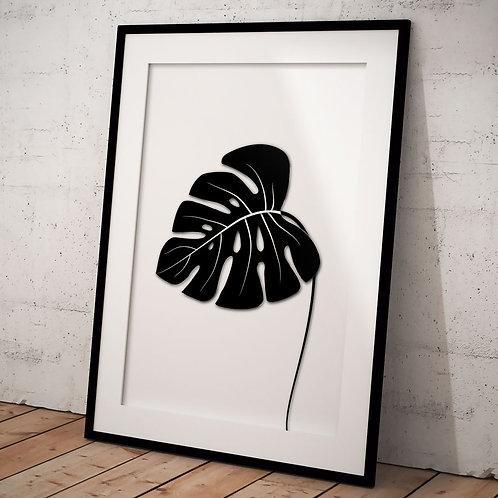 Billede af sort Monstera blad indrammet i sort ramme - A3