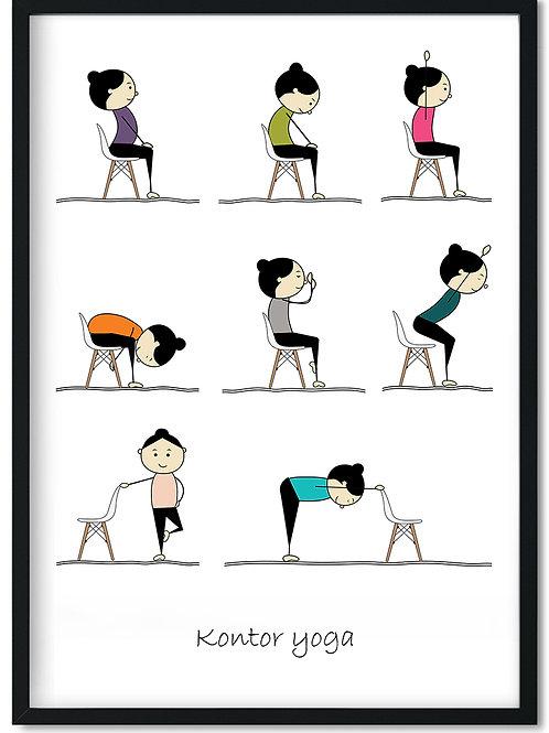 Kontor yoga plakat med gode øvelser til kontoret