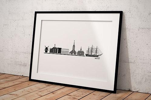 Byplakat Ebeltoft 50 x 70 cm med hvid baggrund og sort ramme