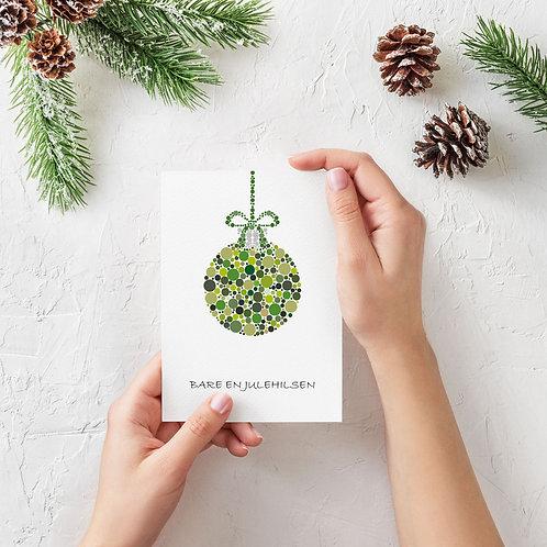 Julekort med grøn julekugle