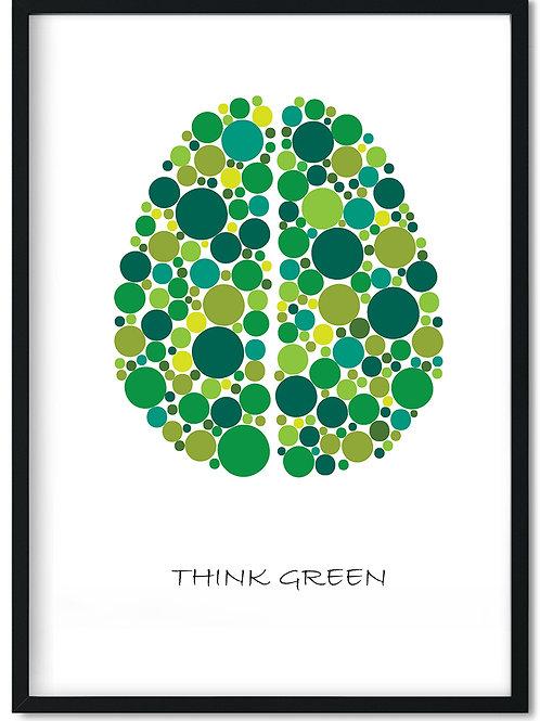 Citat plakat med ordene Think green og sort ramme