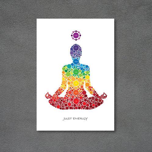 Postkort med chakra og teksten Just energy