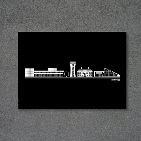 Postkort med byplakat Hjørring sort baggrund