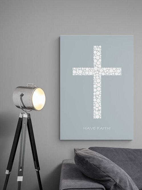 Have Faith plakat i støvet blå med hvidt kors