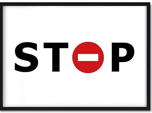 Plakat i ramme med ordet stop