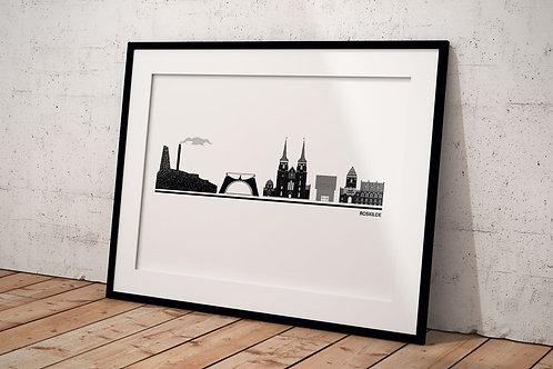 Billede af Byplakat Roskilde 50 x 70 cm hvid med sort ramme