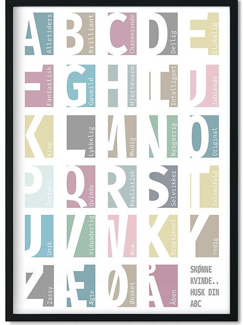 Plakat i ramme med kvindens ABC, positive ord