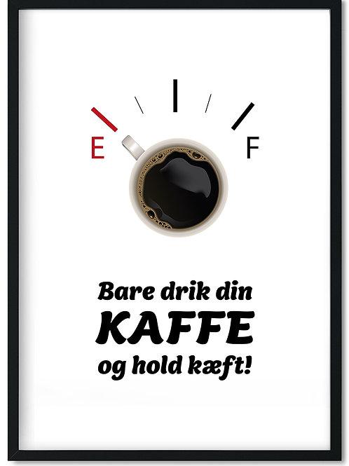 Kaffeplakat med citat i en sort ramme
