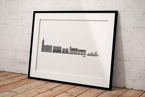 Billede med byplakat 50 x 70 cm af Tunø med hvid baggrund i sort ramme