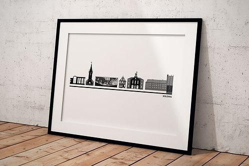 Byplakat af Kolding 50 x 70 cm hvid i en sort ramme