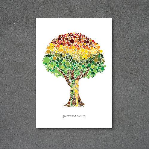 Postkort med træ og mennesker lavet med prikker og teksten Just family